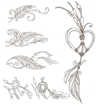 Boho chick handdrawn elements, doodle style