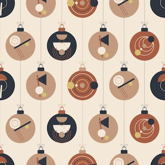 Boho christmas and new year ball seamless pattern. retro bohemian greeting cards vector illustration with hanging christmas bauble in flat cartoon style. sale or discount banner with xmas ball