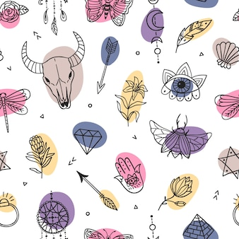 Boho colorful seamless pattern. mystical and witchcraft symbols. ethnic selements
