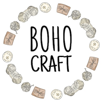 Boho craft logo. cotton yarn and brown craft boxes packages doodles in wreath composition. handmade logo design. hand drawn cute cartoon yandicraft   stock image