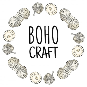 Boho craft logo. cotton yarn doodles in wreath composition. handmade logo design. hand drawn cute cartoon image