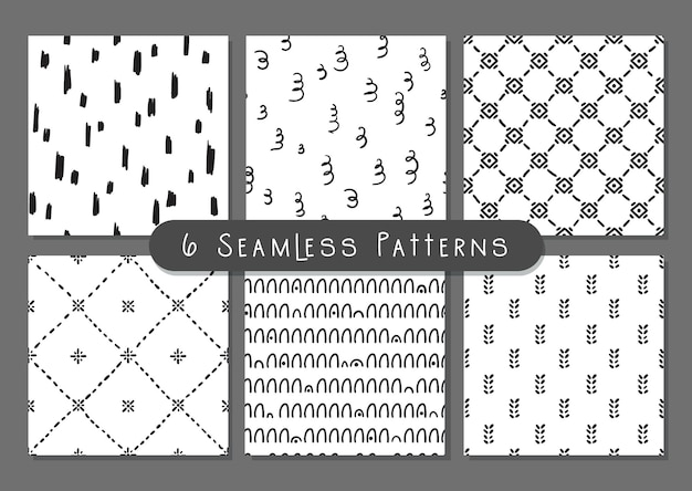 Boho doodle abstrac shapes seamless pattern set