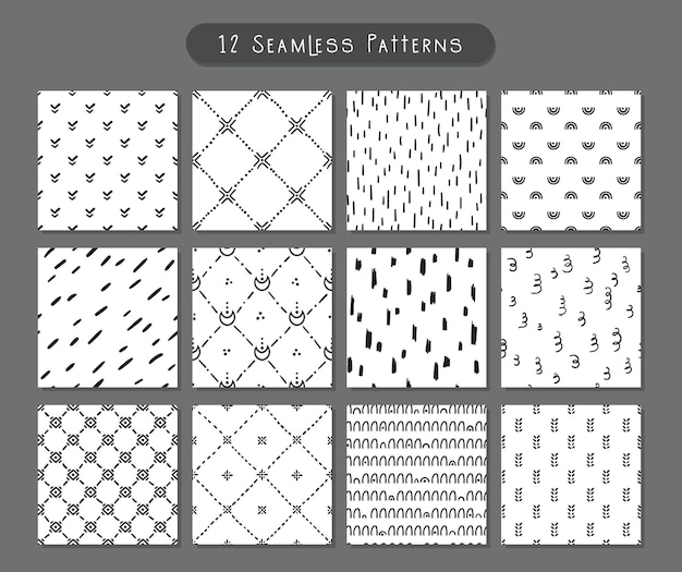 Boho doodle abstract shapes seamless pattern bundle