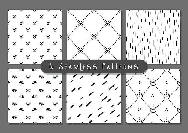 Boho doodle abstract shapes seamless patterns bundle