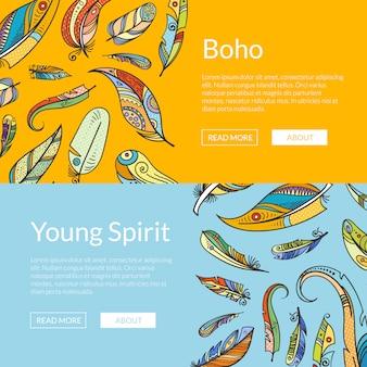 Boho doodle feathers web banner templates set