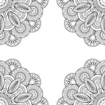 Boho doodle hand drawn frame Premium Vector