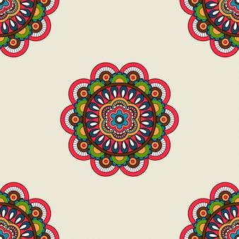 Boho doodle mandala seamless pattern