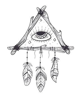 Boho 꿈의 눈 포수 손으로 그린 낙서 디자인 요소 개념