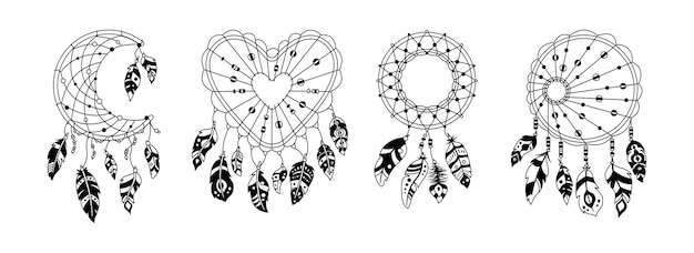 Boho dreamcatcher with feathers black glyph set