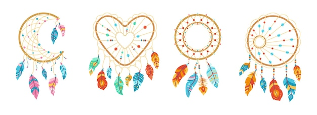 Boho dreamcatcher with feathers cartoon set illustration