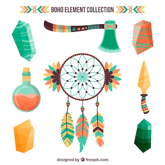Boho element collection with flat design