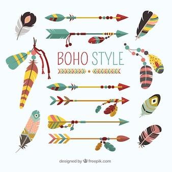 평면 디자인의 boho 요소 컬렉션