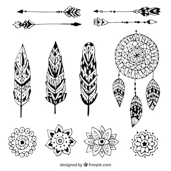 Boho elements collection in hand drawn style