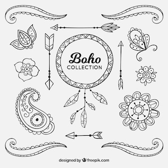 Boho elements collection in hippie style