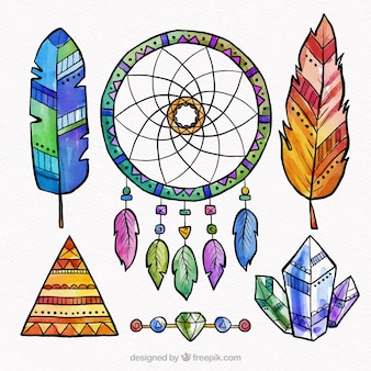 Boho elements collection in watercolor style