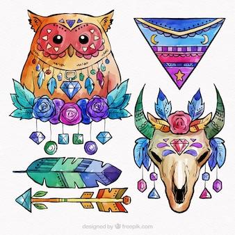 Collezione di elementi boho in stile acquerello