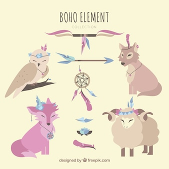 Boho elements collection with cute animals
