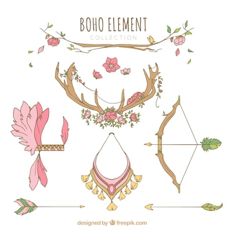 Boho elements collection with feathers and arrows