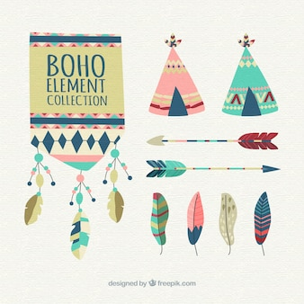 Boho elements collection with feathers
