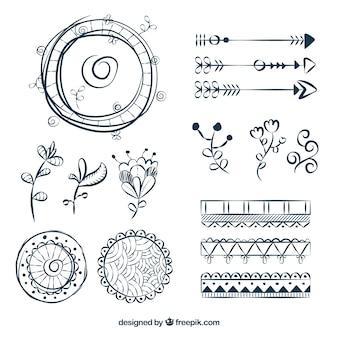 Коллекция элементов boho с хиппи-стилем