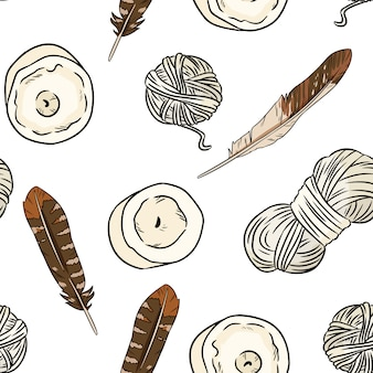 Boho elements, feathers, candles, cotton threads seamless pattern.