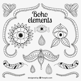 Boho elements in hand drawn style Free Vector