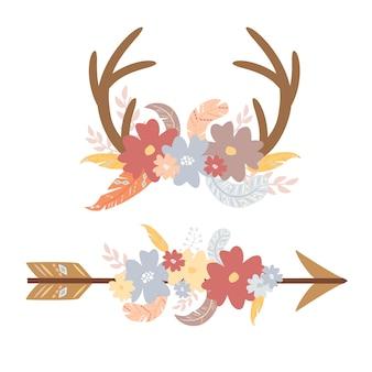 Boho elements horns and arrow