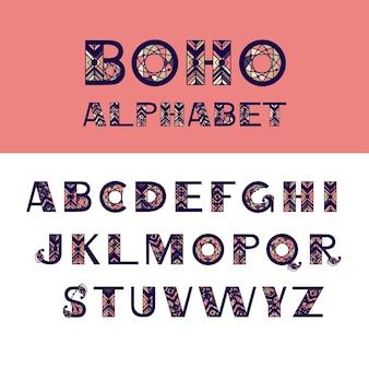 Boho 영어 알파벳입니다. 벡터 디자인을 위한 민족적 요소입니다. 배너, 카드, 포스터, 전단지 및 파티 초대장을 위한 손으로 그린 편지 프리미엄 벡터
