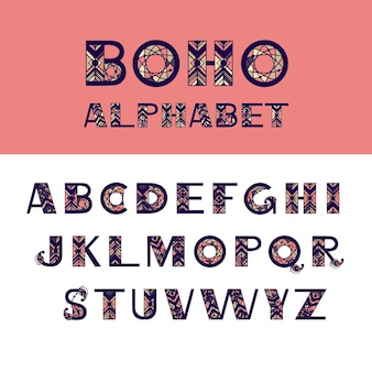 Boho english alphabet. ethnic elements for vector design. hand drawn letters for for banners, card, poster, flyer and party invitations