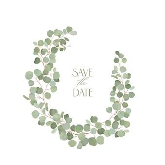 Boho 유칼립투스 꽃 결혼식 벡터 프레임입니다. 결혼식, 최소한의 봄 초대 카드, 장식 여름 배너 수채화 열대 녹지 가지 테두리 템플릿