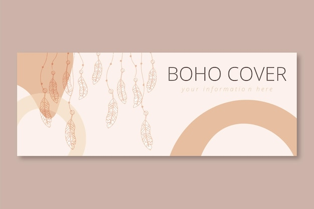 Boho facebook cover flat design