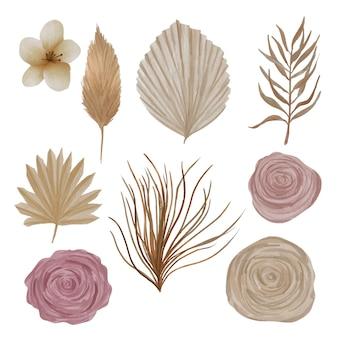 自由奔放に生きる花の水彩画のヤシの葉と花