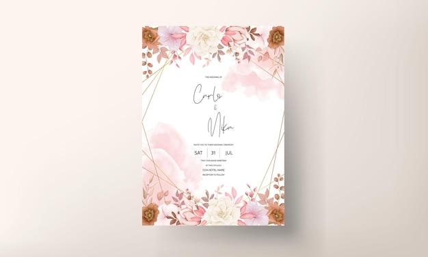 Бохо цветочные свадебные приглашения карты Бесплатные векторы