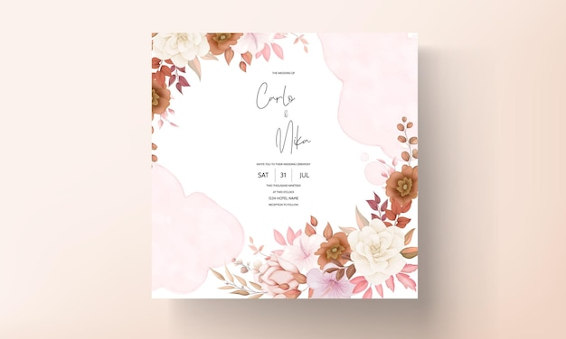 Boho 꽃 결혼식 초대 카드