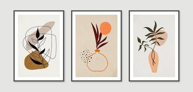 Boho 단풍 식물 최소 및 자연 벽 예술 벡터 세트