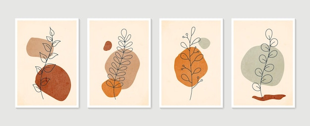 Boho foliage line art drawing with abstract shape. abstract plant art.