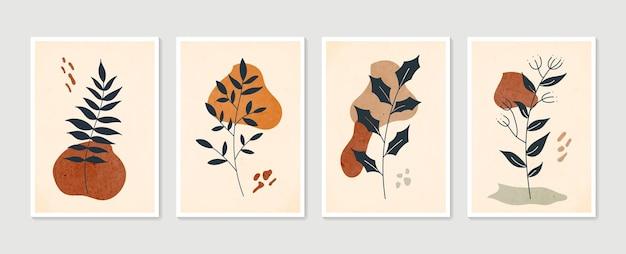 Рисование линии листвы бохо с абстрактной формой. абстрактное искусство растений.