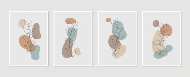 Boho 단풍 라인 아트 드로잉 추상 모양 식물 벽 예술 벡터 세트
