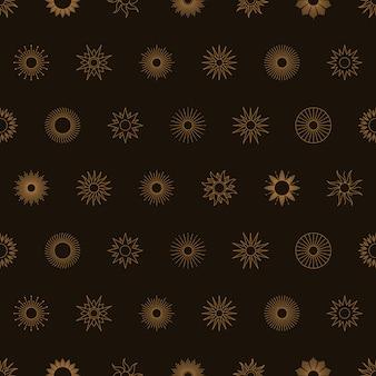 最小限のライナースタイルの自由奔放に生きる黄金の太陽のシームレスなパターン。ファブリックプリント、カバー、ラッピング用のベクターダークバックグラウンド。
