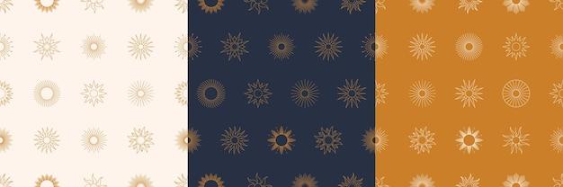 最小限のライナースタイルで設定された自由奔放に生きる黄金の太陽のシームレスなパターン。ファブリックプリント、カバー、ラッピング、壁紙のベクトルの背景
