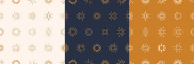 Boho golden sun seamless pattern set in minimal liner style. vector background for fabric print, cover, wrapping, wallpaper