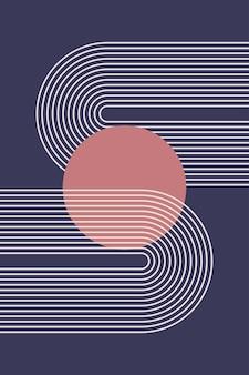 Boho graphic rainbow arch nursery poster minimalist pattern.