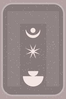Boho graphic rainbow arch nursery poster template minimalist element icon.