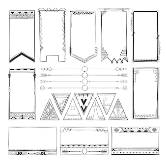 Boho hand drawing doodle collection vector illustration