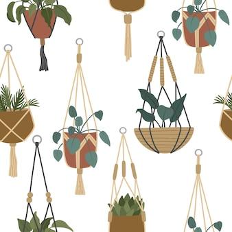 매달린 냄비에 있는 보헤미안 하우스 식물, 트렌디한 가정 장식, 마크라메 재배자의 세련된 실내 열대 꽃, 현대적인 트렌디한 플랫 스타일의 손으로 그린 벡터 일러스트레이션, 반복 배경