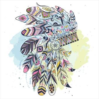 Бохо иллюстрация с головным убором из перьев