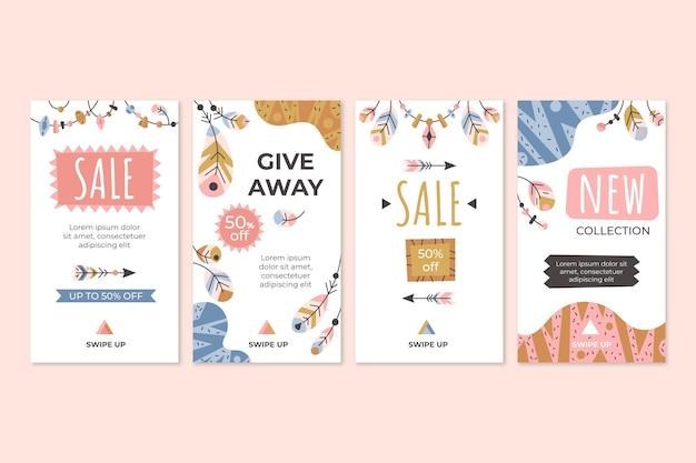 Boho instagram stories collection