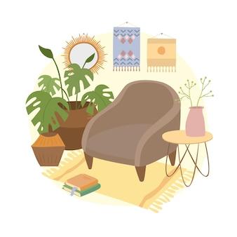 Boho living room interior