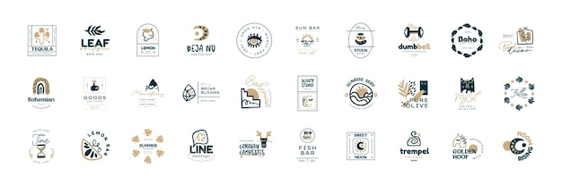 Boho logo design templates collections doodle bohemian icons and symbols set modern tribal ethnic