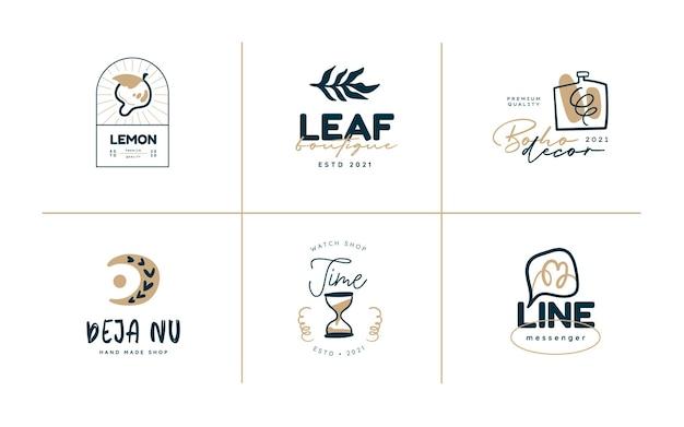 Boho logo design templates collections doodle bohemian icons and symbols set